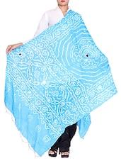 Sky Blue Cotton Bandhani Dupatta - By