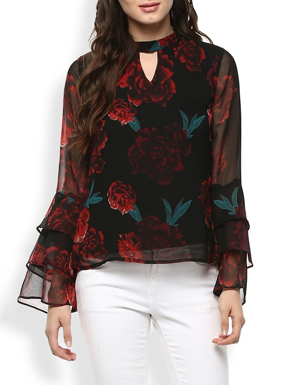 70fa29e34dcb2 Buy Layered Bell Sleeved Floral Top for Women from Rare for ₹705 at 41% off