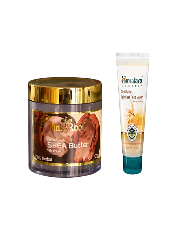 pink root feather touch shea butter cream with himalaya clarifying fairness face wash