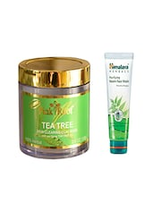 Pink Root Tea Tree Skin Clearing Clay Mask (100gm) With Himalaya Purifying Neem Face Wash (100ml) Pack Of 2 - By