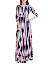 multicolored striped crepe maxi dress -  online shopping for Dresses