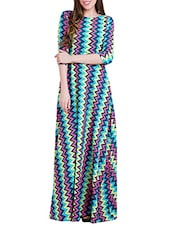 multicolored chevron printed crepe maxi dress -  online shopping for Dresses