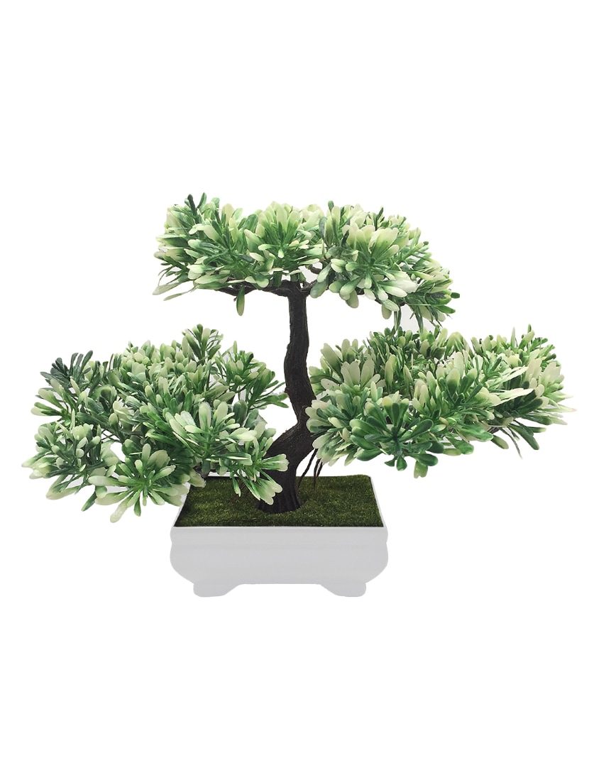 Buy Random 3 Headed Artificial Bonsai Tree With Green And White