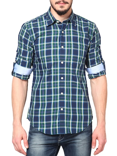 blue cotton casual shirt - 14335162 - Standard Image - 1