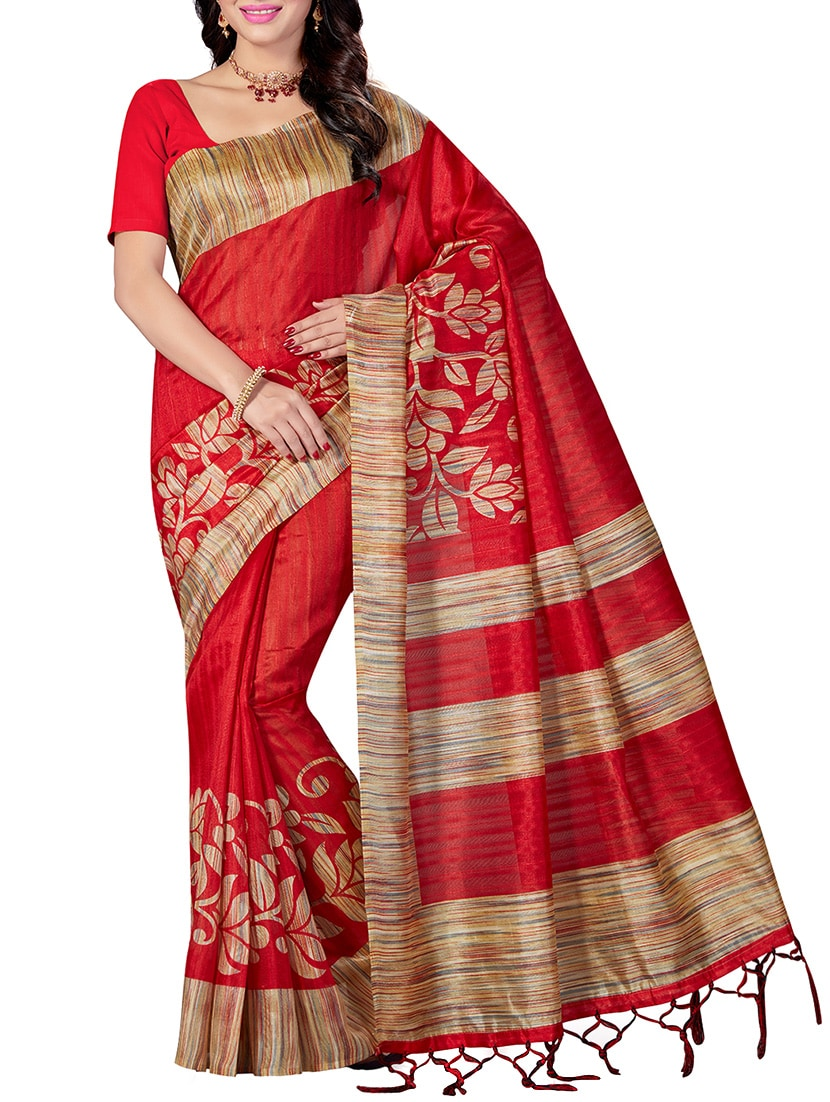 68fb3cc9b Buy Red Art Silk Printed Saree With Blouse for Women from Ishin for ₹657 at  67% off