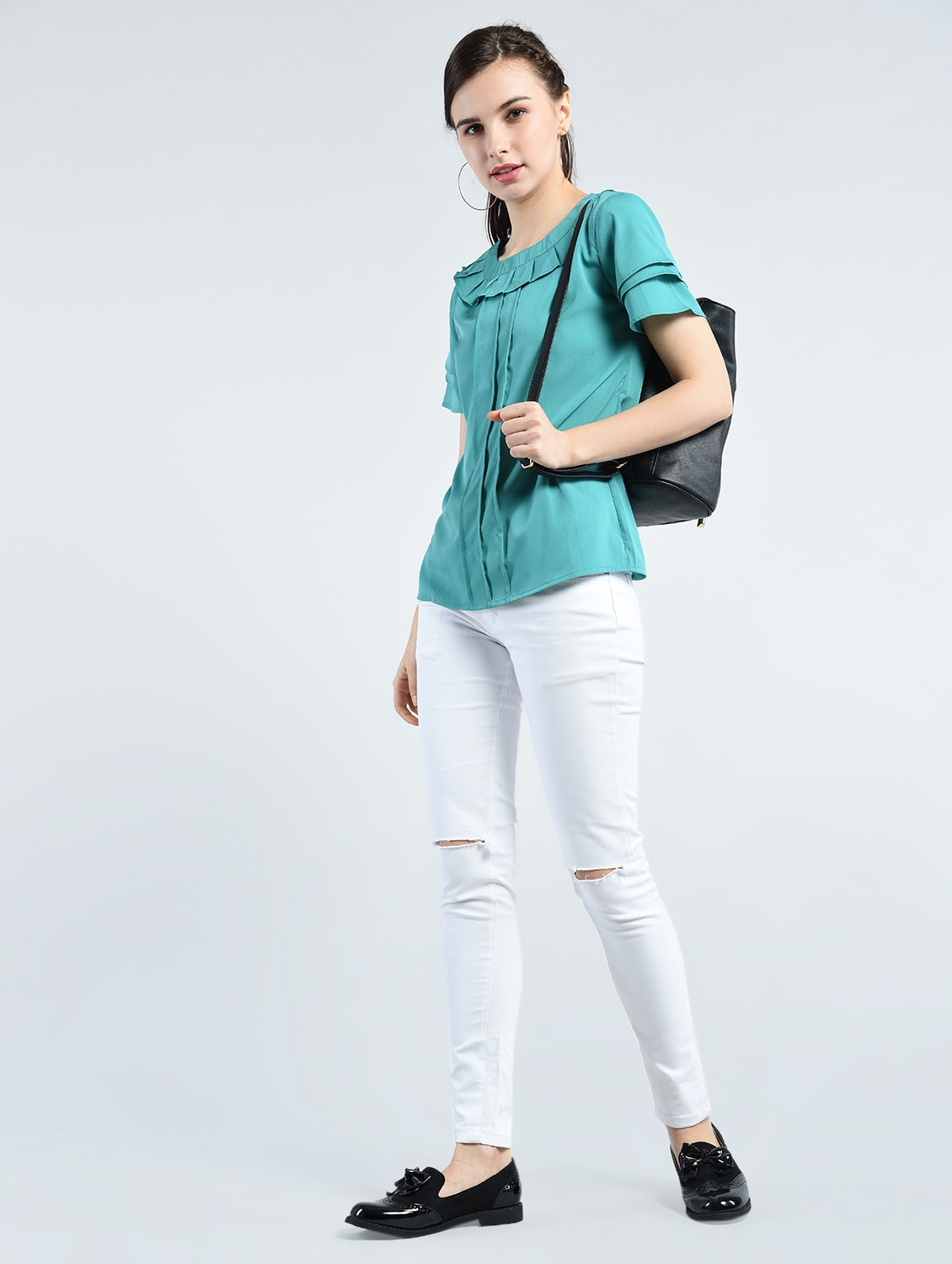 c457fa27d37d6f Buy Blue Crepe Casual Top by Kubes - Online shopping for Tops in India |  14342325