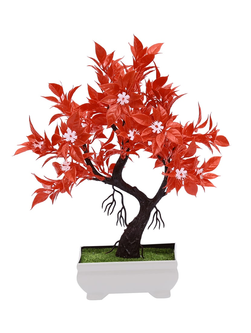 Buy Artificial Bonsai Tree With Red Leaves And White Flowers By