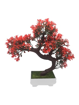 Artificial Bonsai Tree with Small Red Leaves -  online shopping for Indoor Plants