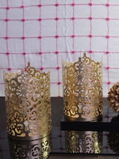 Hosley Set of 2 Gold Metal Sleeve - With Free 6 Unscented Tealights -  online shopping for Candle stands
