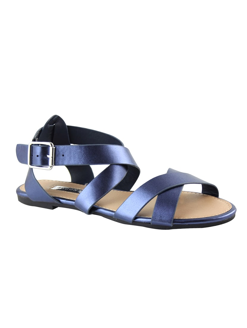 864636bd1f86 Buy Navy Pu Ankle Strap Sandals for Women from London Rag for ₹626 at 27%  off