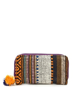 Brown And Yellow Cotton Handloom Wallet - The House Of Tara