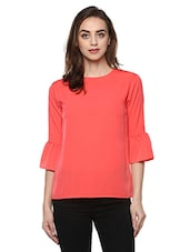 peach crepe casual top -  online shopping for Tops