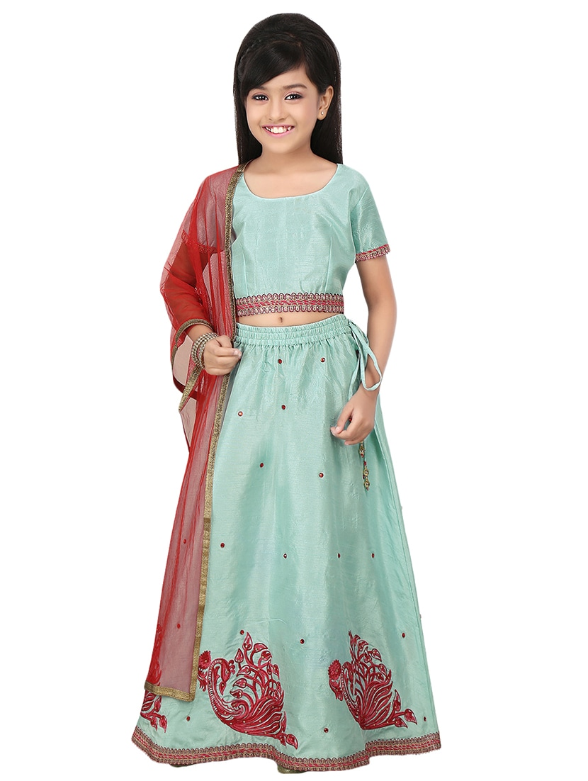 eccce8a381 Kaanchie Nanggia Embroidered Lehenga In Pastel Blue