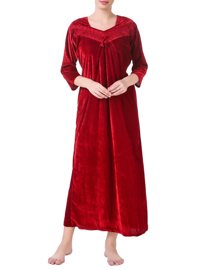 Buy Red Velvet Gown by Masha - Online shopping for Gowns & Kimonos ...