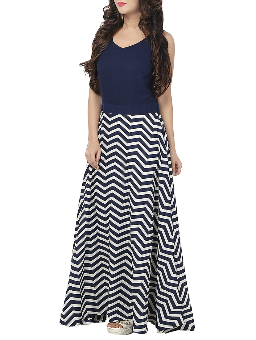 91a0b1b597d Buy Chevron Printed Nautical Maxi Dress for Women from A K Fashion for ₹469  at 67% off