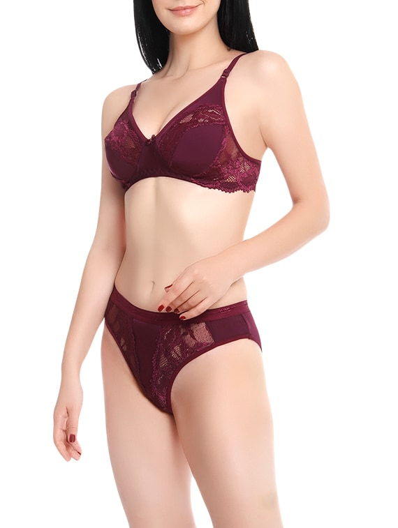9e87b00f6 Buy Purple Nylon Bra And Panty Set for Women from Innocence for ₹301 at 57%  off
