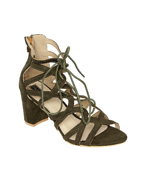 407a4b0e0d5 Buy Green Suede Laceup Sandals by Flat N Heels - Online shopping for  Sandals in India