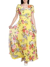 yellow poly georgette dress -  online shopping for Dresses