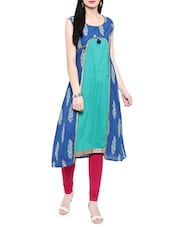 Blue & Turquoise Cotton A-line Kurta - By