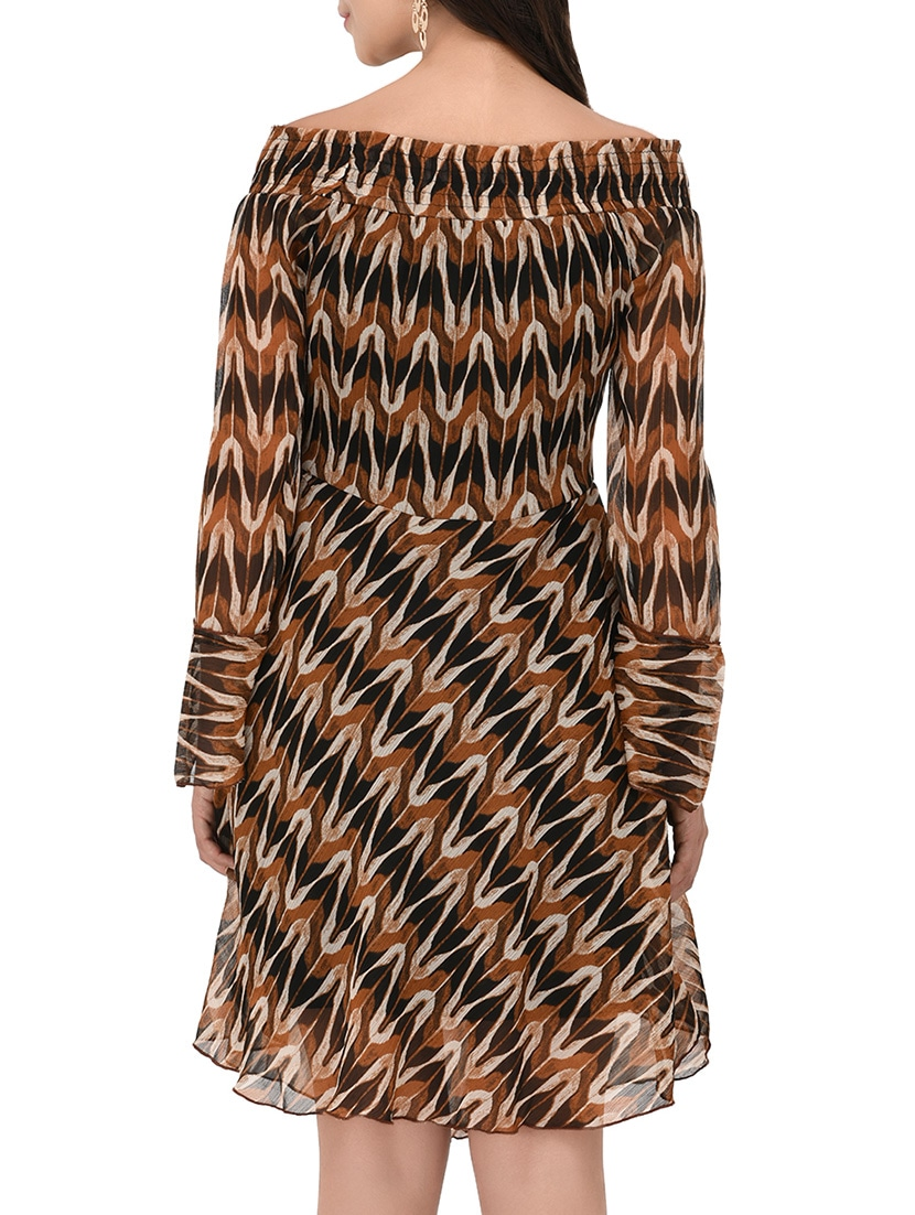 Buy Brown Printed Fit   Flare Dress by Purys - Online shopping for Dresses  in India  36fb53ed64b9