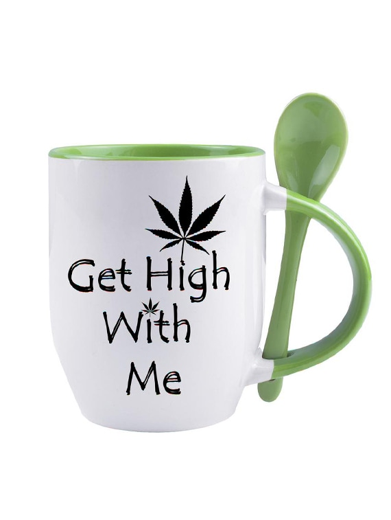 Buy White Ceramic Get High With Me Quoted Printed Mug By Snoby