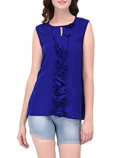 blue crepe casual top -  online shopping for Tops