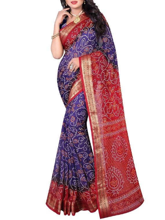 purple art silk bandhani saree with blouse