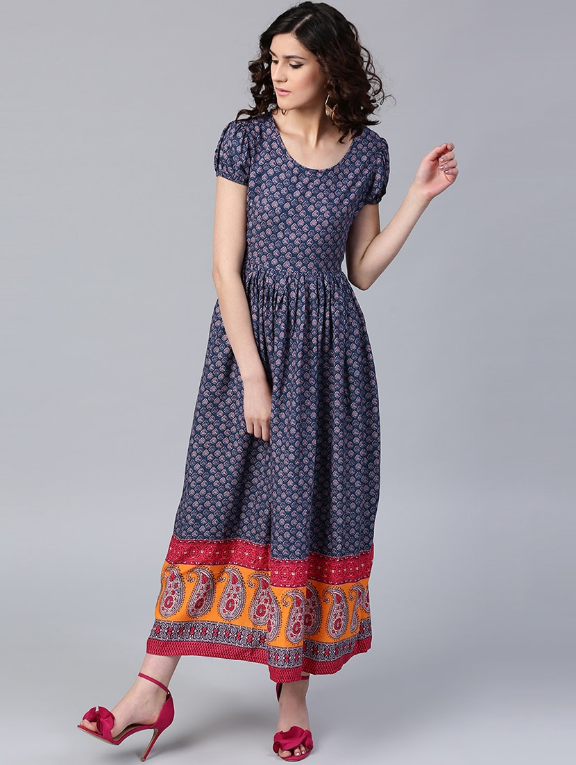 8f8b47bdfb Buy Dark Blue Printed Maxi Dress for Women from Aks for ₹1347 at 29% off