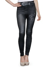 black poly spandex printed jeggings -  online shopping for Jeggings