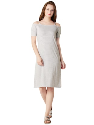 buy grey and white colored cotton shift dress by miss chase online