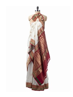 Off-White Banarsi Silk Saree - Saboo