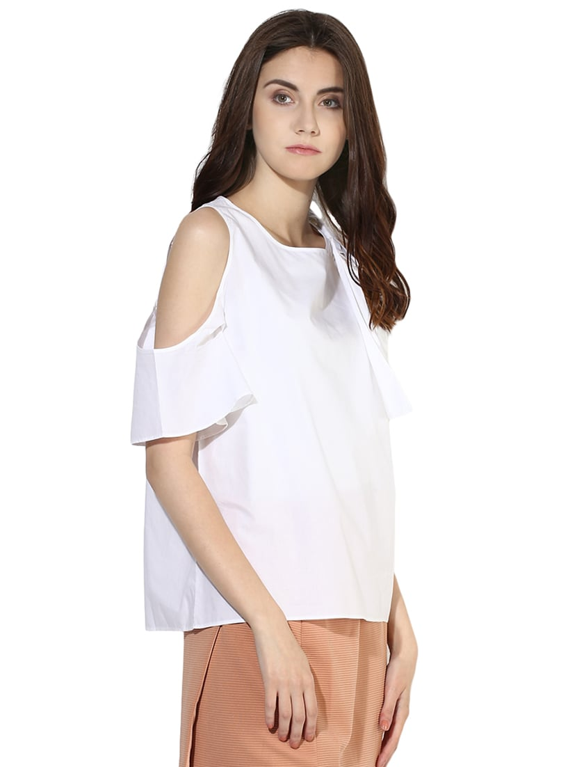 40bb2f96ab1f00 White Cold Shoulder Ruffle Top