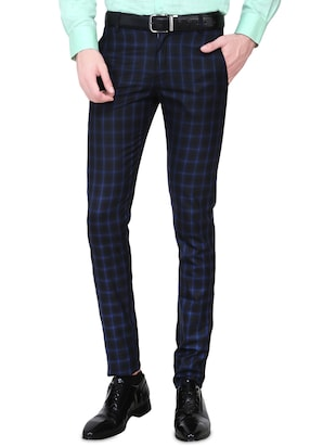 black cotton blend formal trouser -  online shopping for Formal Trousers