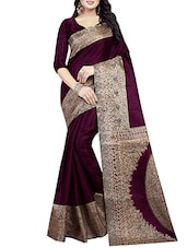 purple art silk printed saree -  online shopping for Sarees
