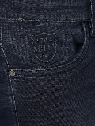 navy blue cotton washed jeans - 14419385 - Standard Image - 4