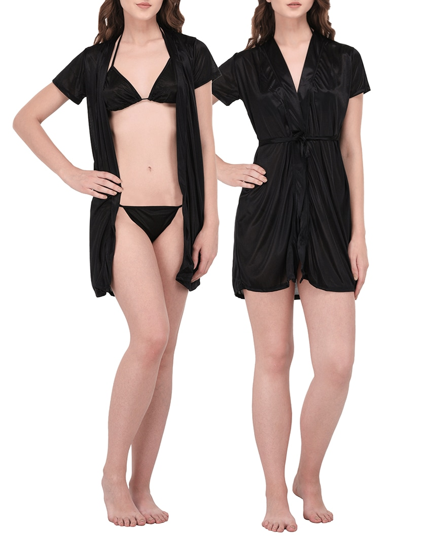 9eac541a0c Buy Black Satin Sleepwear Robe With Bra Panty Set by You Forever - Online  shopping for Sleepwear Robe in India