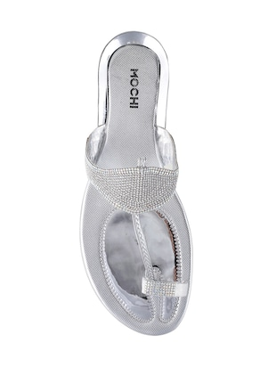 silver sheet one toe sandals - 14422770 - Standard Image - 4