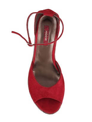 red ankle strap wedge - 14422995 - Standard Image - 4