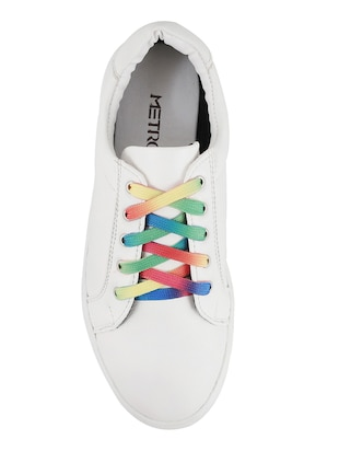white faux leather laceup sneakers - 14423291 - Standard Image - 4