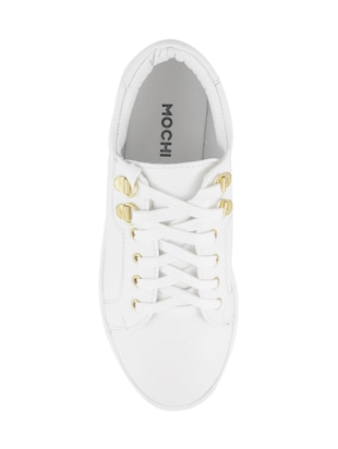 white pu laceup sneakers - 14423297 - Standard Image - 4