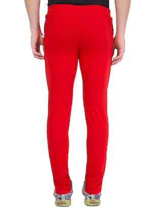 red cotton track pant - 14424833 - Standard Image - 4