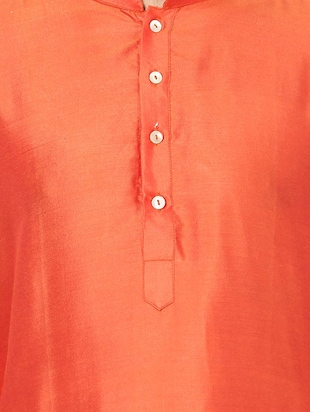 orange silk blend long kurta - 14424885 - Standard Image - 4
