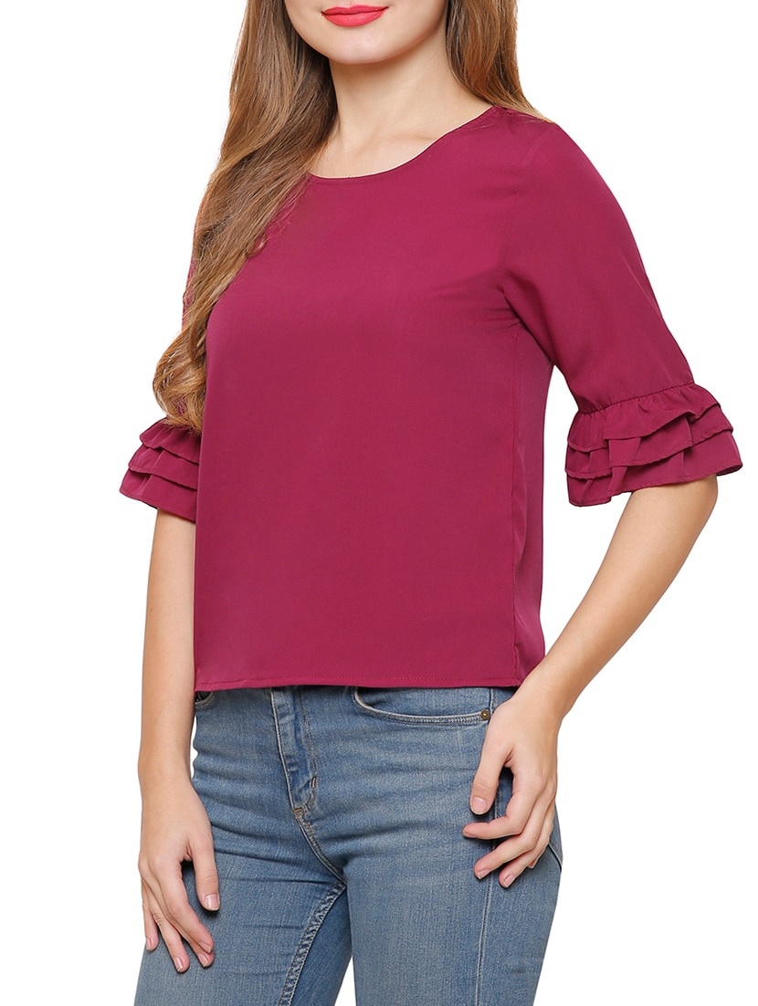 6d9099ebd320e Buy Frill Sleeved Solid Top by Marzeni - Online shopping for Tops in India
