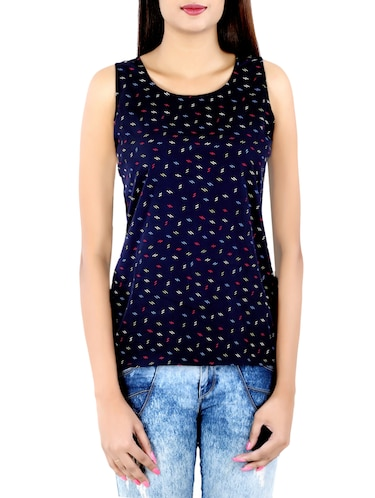 navy blue printed top - 14425068 - Standard Image - 1