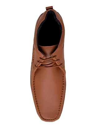 brown synthetic lace up shoes - 14427907 - Standard Image - 4