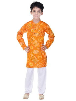 yellow and white cotton kurta set - 14428931 - Standard Image - 4