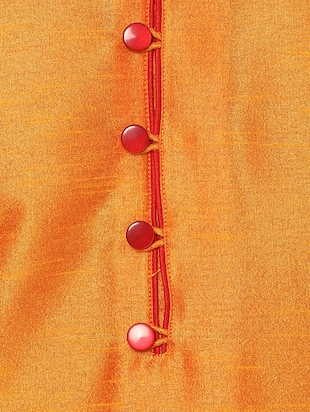 orange silk blend kurta payjama set - 14431421 - Standard Image - 4