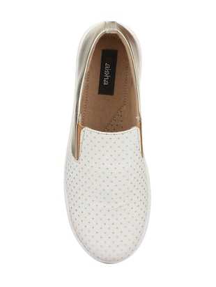 white faux leather plimsolls casual shoes - 14432174 - Standard Image - 4