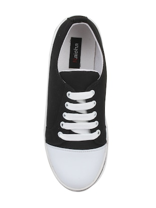 black fabric laceup sneakers - 14432178 - Standard Image - 4