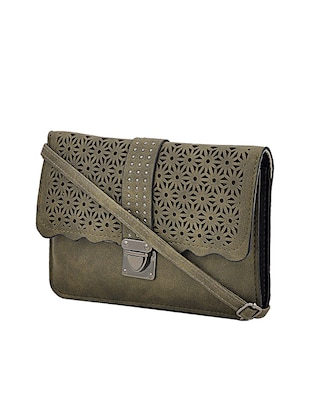 green leatherette sling bag - 14432471 - Standard Image - 4